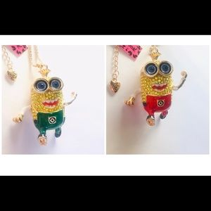 Green or Red Crystal and Enamel Minion Necklaces